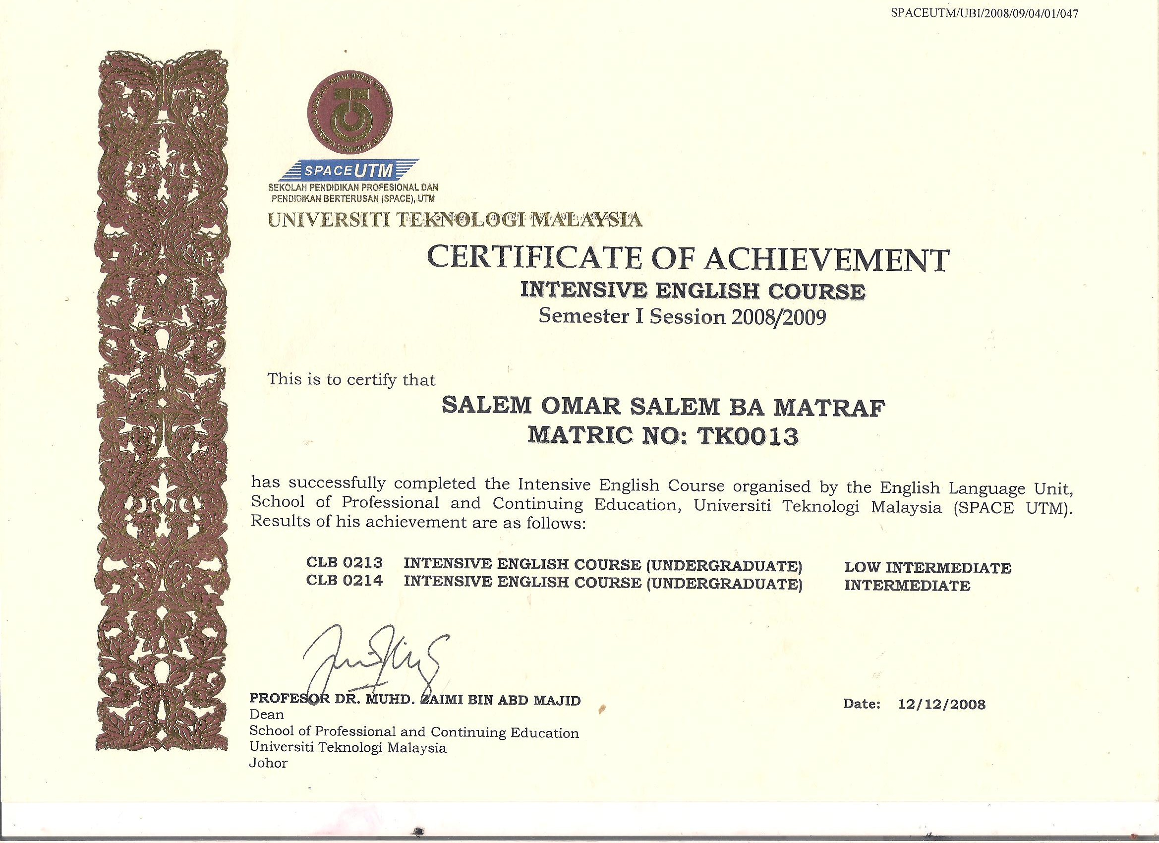 my certificates and achievements myeportfolio utm